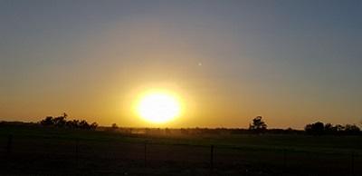 Sunrise on farm day